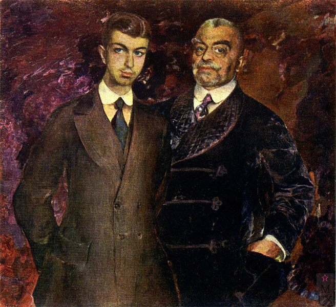 P.I.Kharintonenko_with_son_by_F.Malyavin_(1911,_Kharkin)