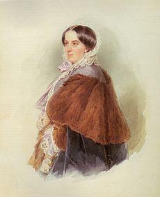 Варвара Николаевна Репнина на акварели Л. Фишера (1858)