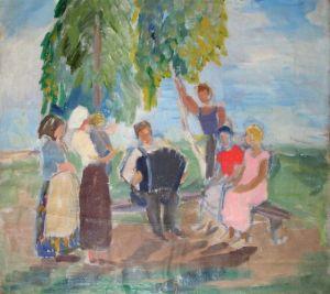 Ученики Матюшина.Ольга Ваулина. Гармонист. 1920е, холст, масло,50х56